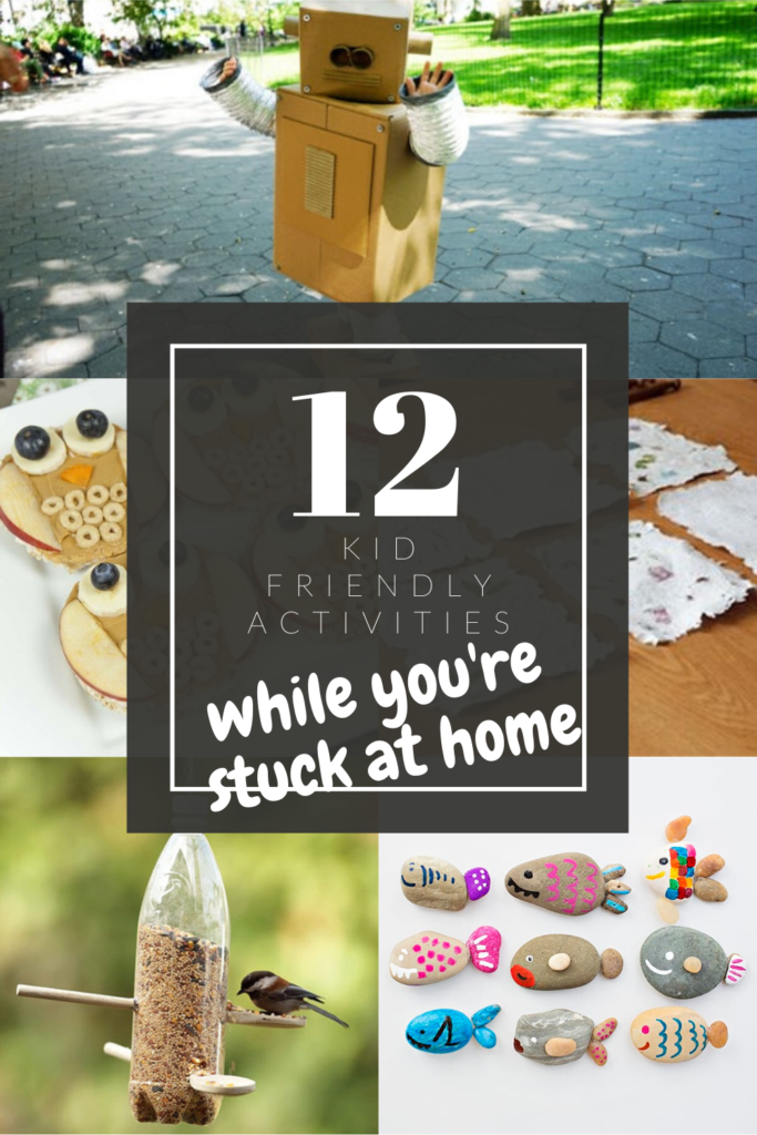 pinterest pin 12 activities to do at home with kids if you are quarentined