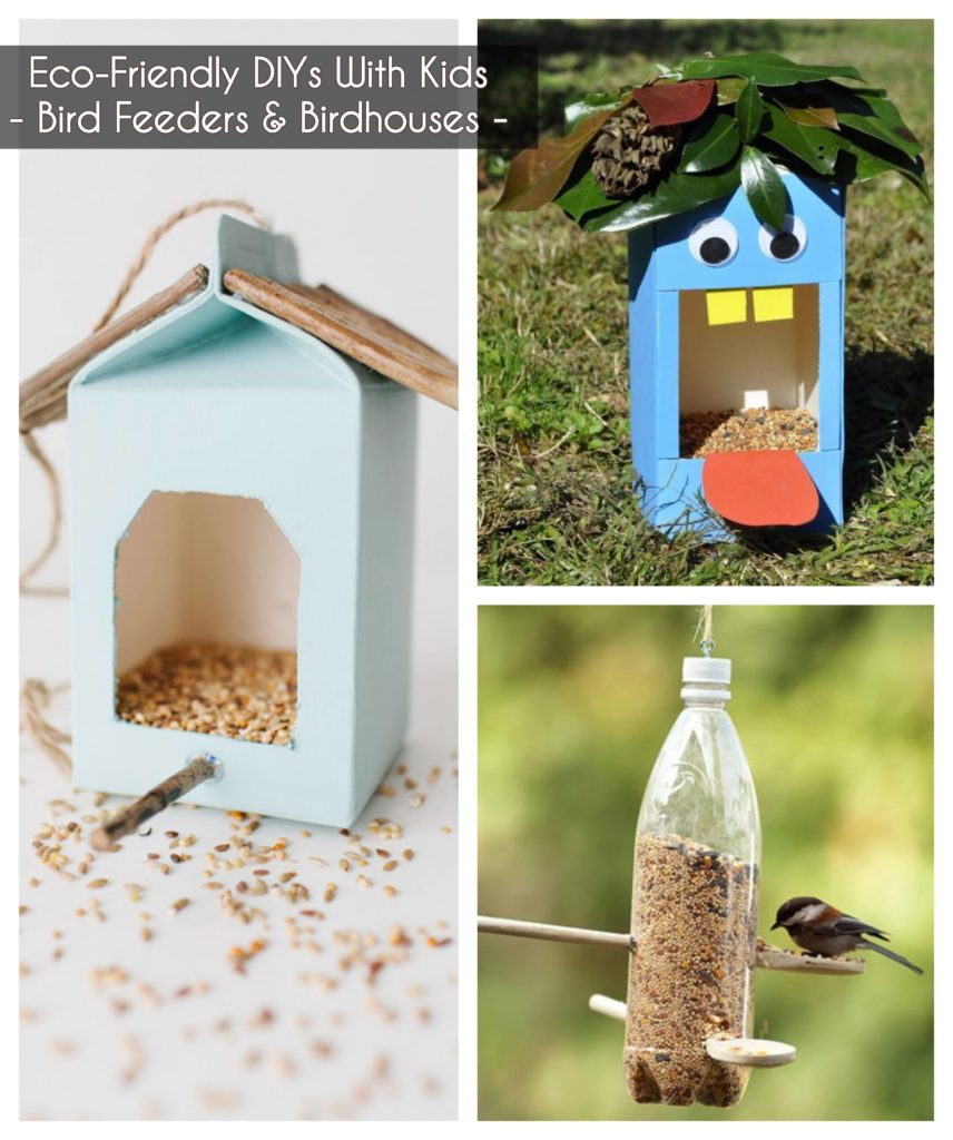 ideas to keep kids busy - make birdhouses and bird feeders out of recycled materials