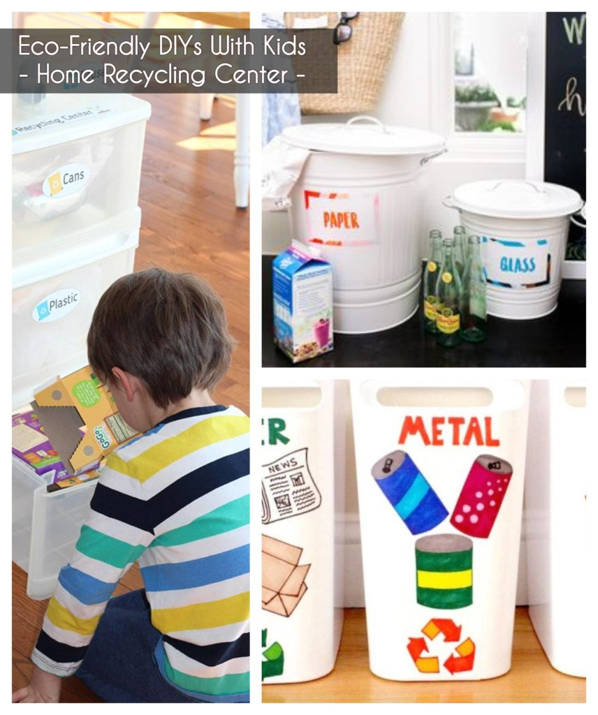 ideas to keep kids busy - create a recycle center at home recycling bins